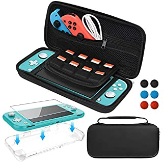 Accessories Kit for Nintendo Switch Lite, Bundle with Carrying Case, TPU Protective Cover, Screen Protector and Thumb Grips for Switch Lite 2019, Black