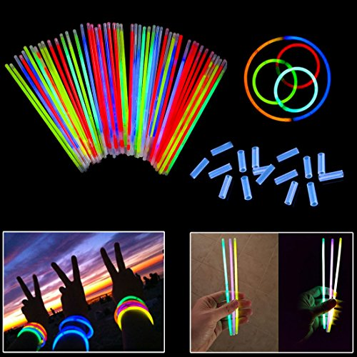 (Dazzling Toys 8 Inch Glow Stick Bracelets - 100 Pack in Assorted Colors with 100 Connectors - Glows for 8-12 Hours)