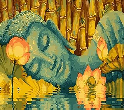 Qjhxd Buda Dormido Arte De La Familia Sin Marco Pintura Bricolaje