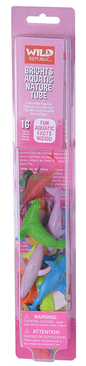 Wild Republic Bright Aquatic Animals, Nature Tube, Ocean Toys, Vibrant Colors, Fantasy Figures, Kids Gifts, 16- Pieces
