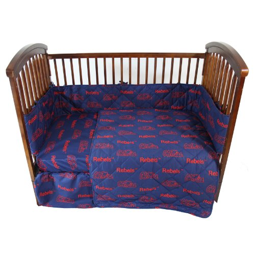 Ole Miss Rebels Valance - Ole Miss Rebels 5 Piece Crib Set and Matching Window Curtain Valance - Entire Set includes: (1) Reversible Comforter, (1) Bed Skirt , (2) Fitted Sheets, (1) Bumper Pad and (1) Matching Window Curtain Valance - Decorate Your Nursery and Save Big By Bundling!