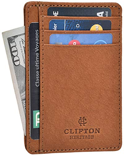 RFID Front Pocket Slim Wallets- Genuine Leather Handmade Minimalist Credit Card Holder By Clifton Heritage (Small, Cognac Vintage Wax) (Leather Credit Card Wallet)