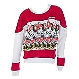 Minnie Mouse Women's Striped & White Crewneck Sweatshirt X-Large