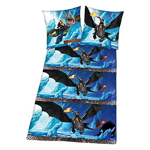 Herding Flanell-Kinderbettwäsche Dragons 135x200 cm