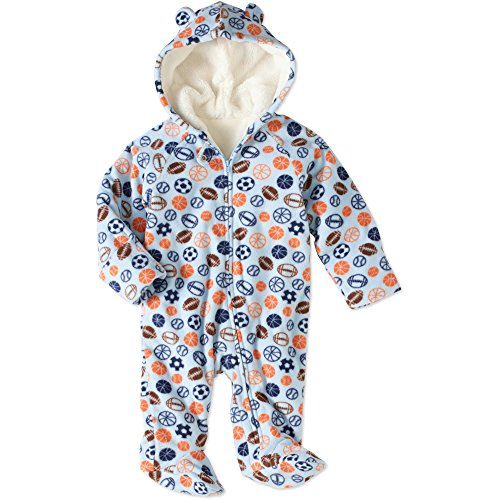 Healthtex Baby Boy Fleece Footed Snowsuit (3-6 M, Blue Football) -