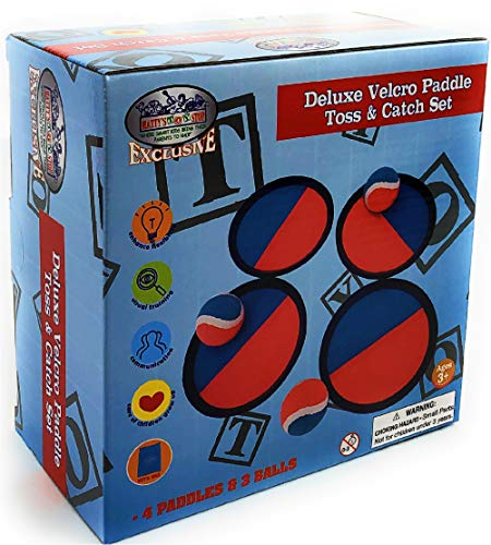 Matty's Toy Stop Deluxe Toss & Catch (Hook & Loop) Tropical Colors Paddle Game Set with 4 Paddles, 3 Balls & Storage Bag by Matty's Toy Stop (Image #1)