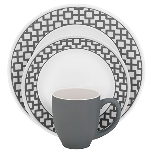 Corelle Impressions 16-Piece Dinnerware Set, Urban Grid, Service for - Glasses In New Trends