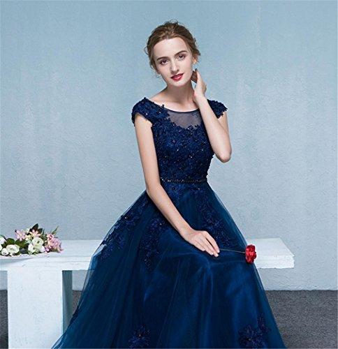 di festa LUCKY donna Blu Abito lungo Banchetto fine anno Vestire Decorazione da Cerimonia Abito Cena U blue Ballo Elegante 1qwRqpYO