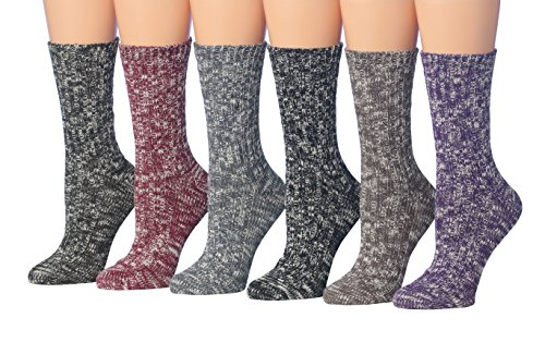 Tipi Toe Womens 6 Pairs Cotton Blend Thick Cozy Warm Winter Boot Crew Socks   Sock Size 9 11  Fits Shoe Size 6 9  Bt26