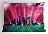 Lunarable Poker Tournament Pillow Sham, Stack of Gambling Chips Success and Wealth of Winner with Lucky Betting, Decorative Standard Queen Size Printed Pillowcase, 30 X 20 inches, Multicolor