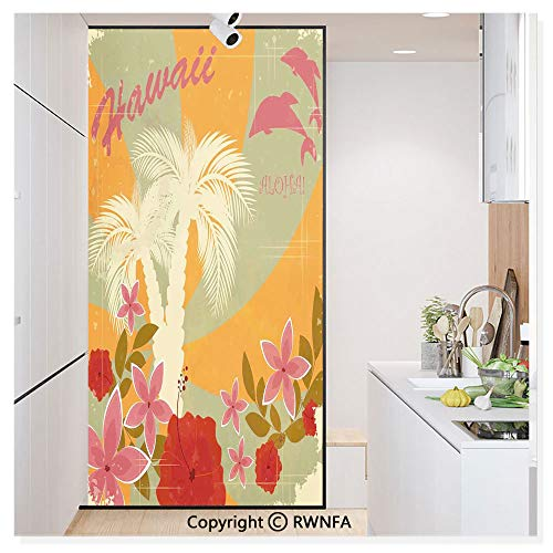 Window Door Sticker Glass Film,Aloha Vintage Style Print Colorful Swirl Background Dolphins Palm Trees Flowers Anti UV Heat Control Privacy Kitchen Curtains for Glass,30 x 59.8 inch,Red Mustard