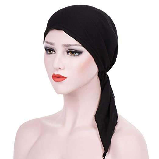 ace658196d9 DEESEE(TM)🌸Women India Muslim Ruffle Cancer Chemo Beanie Scarf Turban Two  Tail