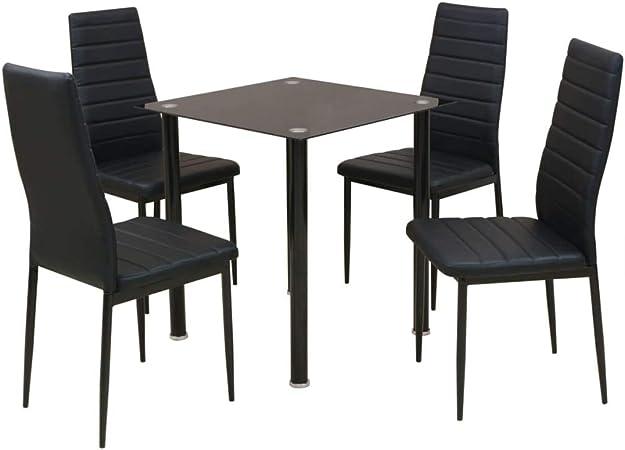 Xinglieu Juego de 5 Piezas de Mesa y sillas de Comedor Negro Set de Comedor Juego de Mesa y sillas de Comedor: Amazon.es: Hogar