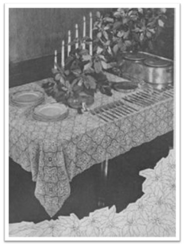 - #1896 POINSETTIA TABLECLOTH VINTAGE CROCHET PATTERN