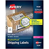 """Avery WeatherProof Mailing Labels with TrueBlock Technology for Laser Printers 5-1/2"""" x 8-1/2"""", Box of 100 Labels (5526), White"""