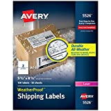 Avery WeatherProof Mailing Labels with TrueBlock Technology for Laser Printers 5-1/2' x 8-1/2', Box of 100 Labels (5526), White