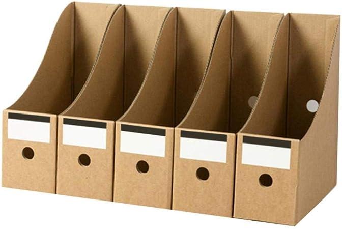 XBSLJ - Organizador de archivadores plegable, archivo de cartas, organizador de escritorio, caja de almacenamiento de papelería, portadocumentos de papel kraft: Amazon.es: Hogar