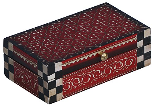 (Decorative Wood Box - Handmade Treasure Chest - Red Premium Quality and CONE PAINTING ART Trinket keepsake Decorative Jewelry Box from India - Gifts for Her)