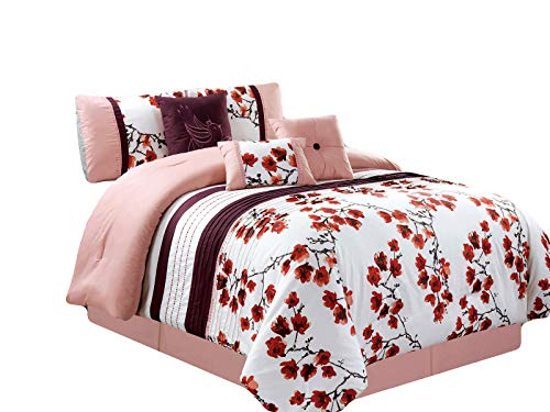 HGS 7-Pc Cherry Blossom Bird Embroidery Pleated Comforter Set Pink White Purple Queen