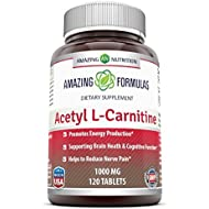 Amazing Formulas Acetyl L-Carnitine - 1000 Mg - Promotes Energy Production - Supports Brain Health & Cognitive Function - Helps Reduce Nerve Pain. (120 Tablets)