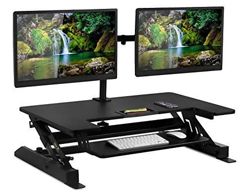 Mount-It! Sit Stand Workstation Standing Desk Converter With Dual Monitor Mount Combo, Ergonomic Height Adjustable Tabletop Desk, Black (MI-7934)Black (Sit-Stand + 2 Monitor Mount) by Mount-It!