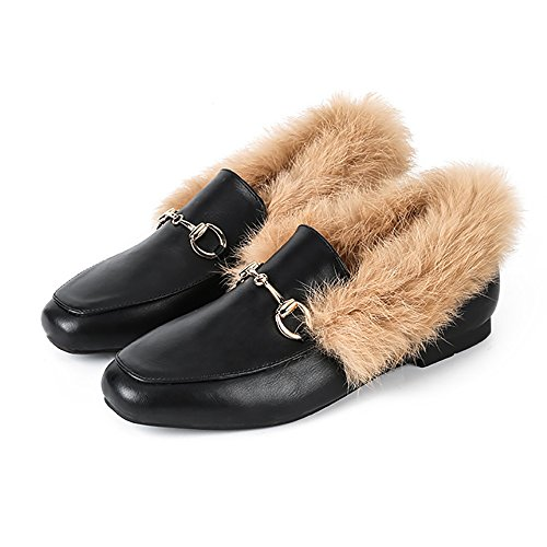 Meeshine+Women%27Slip-On+Loafers+Buckle+Fur+Lined+Slippers+Flat+Shoes+Black+US+9
