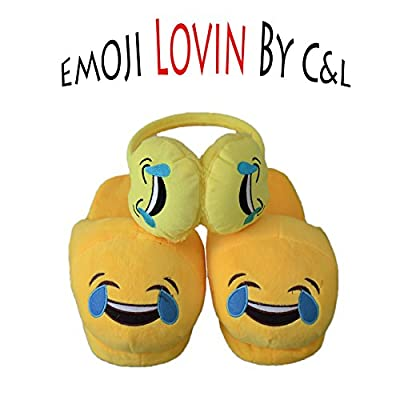 Emoji Plush SET of SLIPPERS and EARMUFFS/ Poop Pillow by C&L. Emoji Value Pack For Women and Kids That Will Keep Your Feet Warm All Year Long