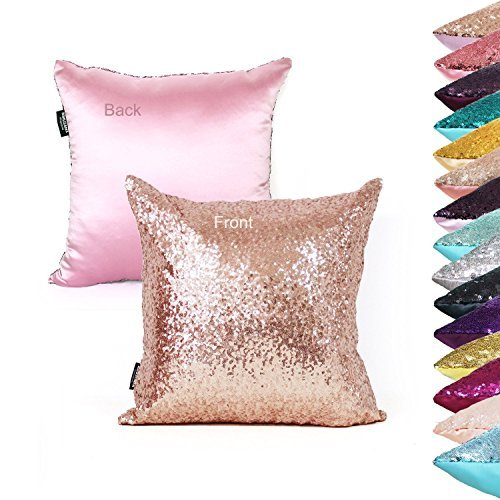 Rose Bed Packs - AMAZLINEN(TM) Decorative Glitzy Sequin & Comfy Satin Solid Throw Pillow Cover 18 Inch Square Pillow Case, Hidden Zipper Design, 1 Cover Pack Only(Rose Gold)