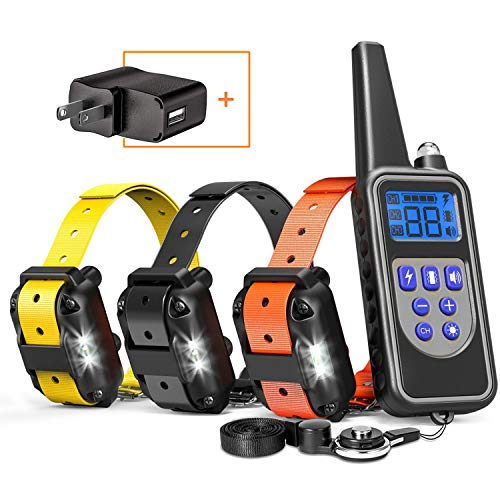 Cambond Dog Shock Collar for 3 Dogs, 3 Dog Training Collar with Remote 2600ft Range Waterproof Electronic Dog Collar for Medium and Large Dogs with 4 Training Modes Light Shock Vibration Beep ()