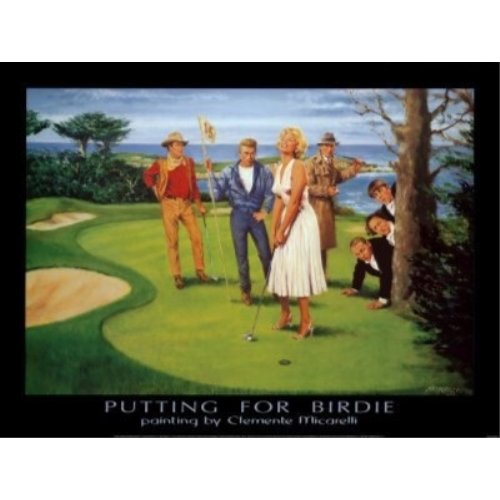 Putting for Birdie by Clemente Micarelli 32x24 Art Print Poster Vintage Marilyn Monroe James Dean Humphrey Bogart John Wayne and The Three Stooges on a Golf Course]()