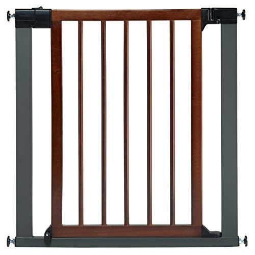 Munchkin Wood and Steel Designer Baby Gate, Dark Wood/Silver (Baby Door With Gate Munchkin)