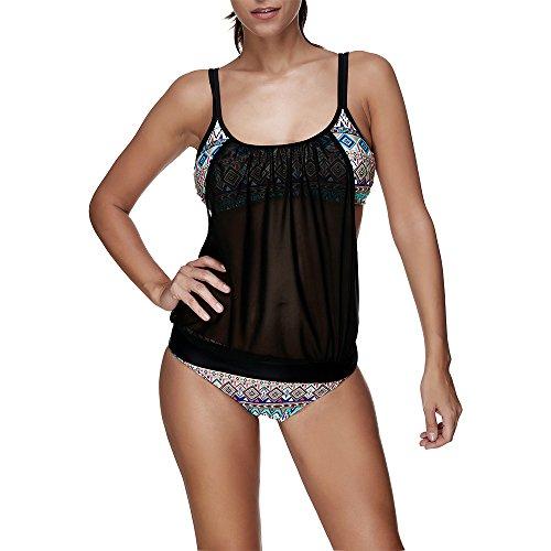 SUNNOW-Womens-Stripes-Lined-Up-Double-Up-Tankini-Top-Swimwear-Beachwear