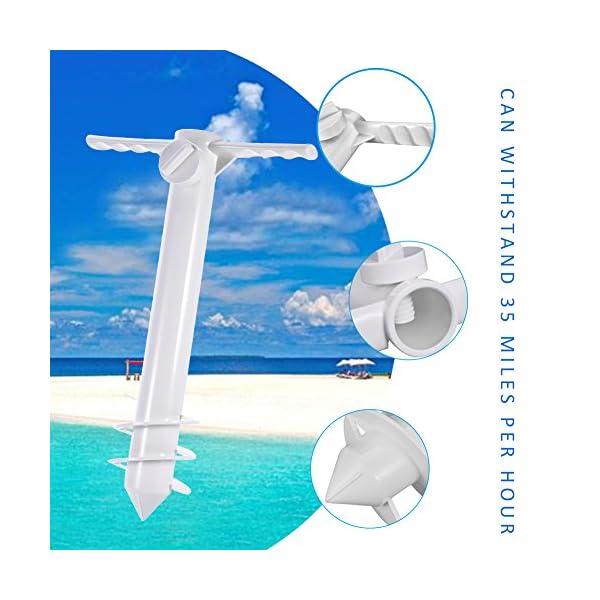 Ombrellone da Spiaggia Porta cavalletto con Vite a 3 Punti, Taglia Unica, Sicuro per Vento Forte (Bianco) 6 spesavip