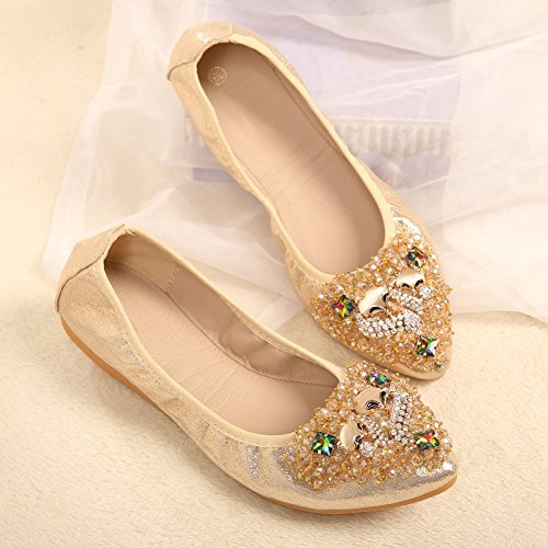 Soft Womens golden JESSI Foldable Comfort Fox Toe MAIERNISI Beads Flats Ballet Pointed Shoes Rhinestone 15qtxOOn