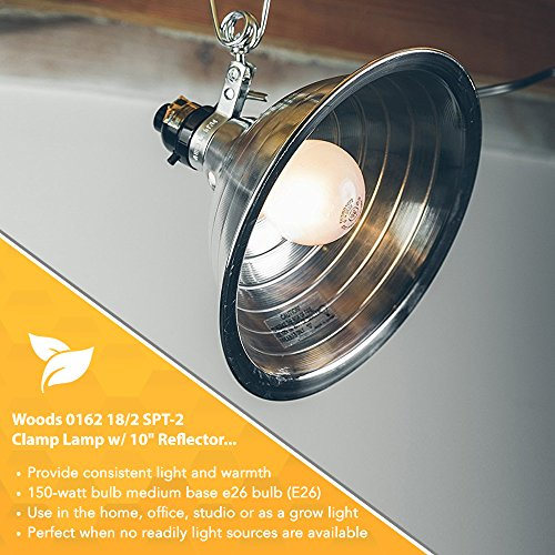 Woods 0162 18/2 SPT-2 Clamp Lamp with 10 Inch Reflector, 150 Watt, 6 Foot Cord by Woods (Image #3)