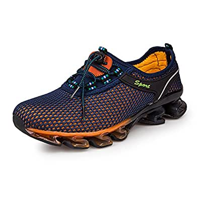 GOMNEAR Running Shoes Men Breathable Fashion Casual Stylish Sneakers Athletic Springblade Walking Big Size Shoes Blue Size: 6.5