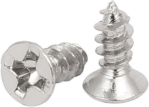 sourcingmap/® Tono Plata de cabeza plana Phillips autorroscantes tornillos roscachapa 4mmx17mm 60pcs