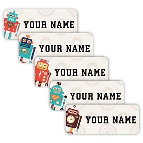 - Original Personalized Peel and Stick Waterproof Custom Name Tag Labels for Adults, Kids, Toddlers, and Babies - Use for Office, School, or Daycare (Retro Robots Theme)