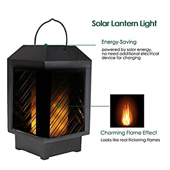 VKTECH LED Solar Flickering Flame Lantern Lights 96LED IP65 Solar Hanging Lights Waterproof Landscape Lamp for Garden Patio Outdoor Yard Decoration