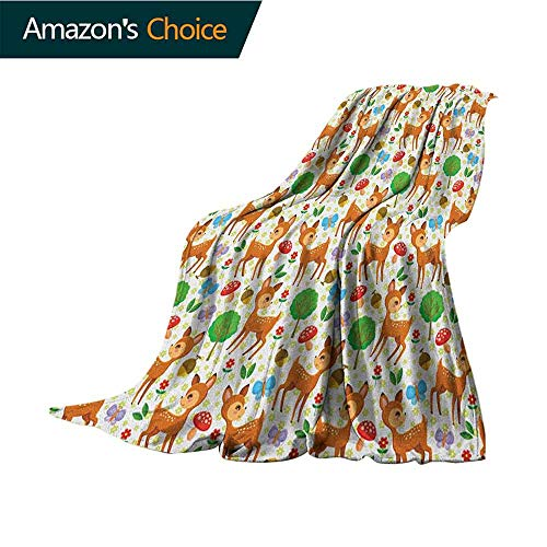 Cheap Cartoon Animal Weighted Blanket Adult Baby Deer and Other Forest Elements Mushrooms Butterflies Flowers and Nuts Soft Summer Cooling Lightweight Bed Blanket 60