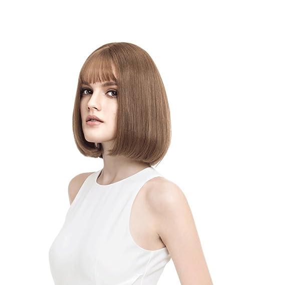 LRXG Peluca Peluca de Pelo Corto y Recto de Europa y América Miel Marrón Color de Pelo Natural Mujeres de Moda esponjosas de Alta Calidad: Amazon.es: Hogar