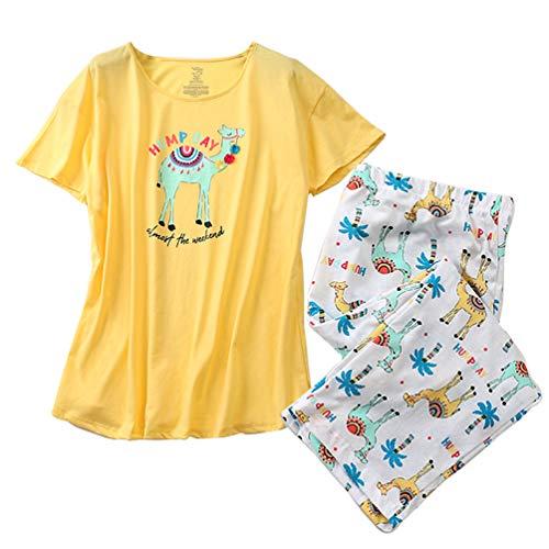 ENJOYNIGHT Women's Sleepwear Tops with Capri Pants Pajama Sets (XXX-Large, Alpaca)