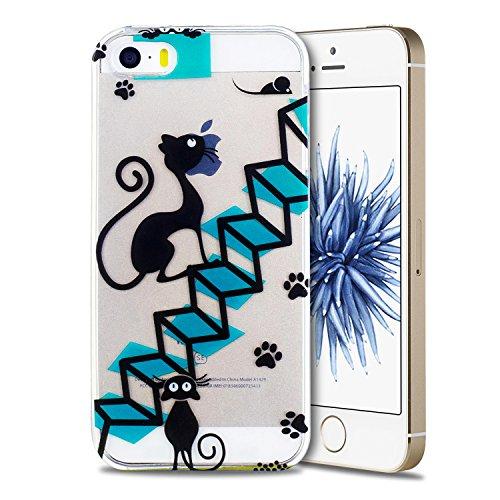 Funda iPhone 5 / 5S / SE, iPhone 5 Funda Silicona, SpiritSun Soft Carcasa Funda para iPhone 5 / 5S / SE (4.0 pulgadas) Ultra Delgado y Ligero Flexible TPU Caja Trasparente Carcasa Case Cristal Gel Pro Gato