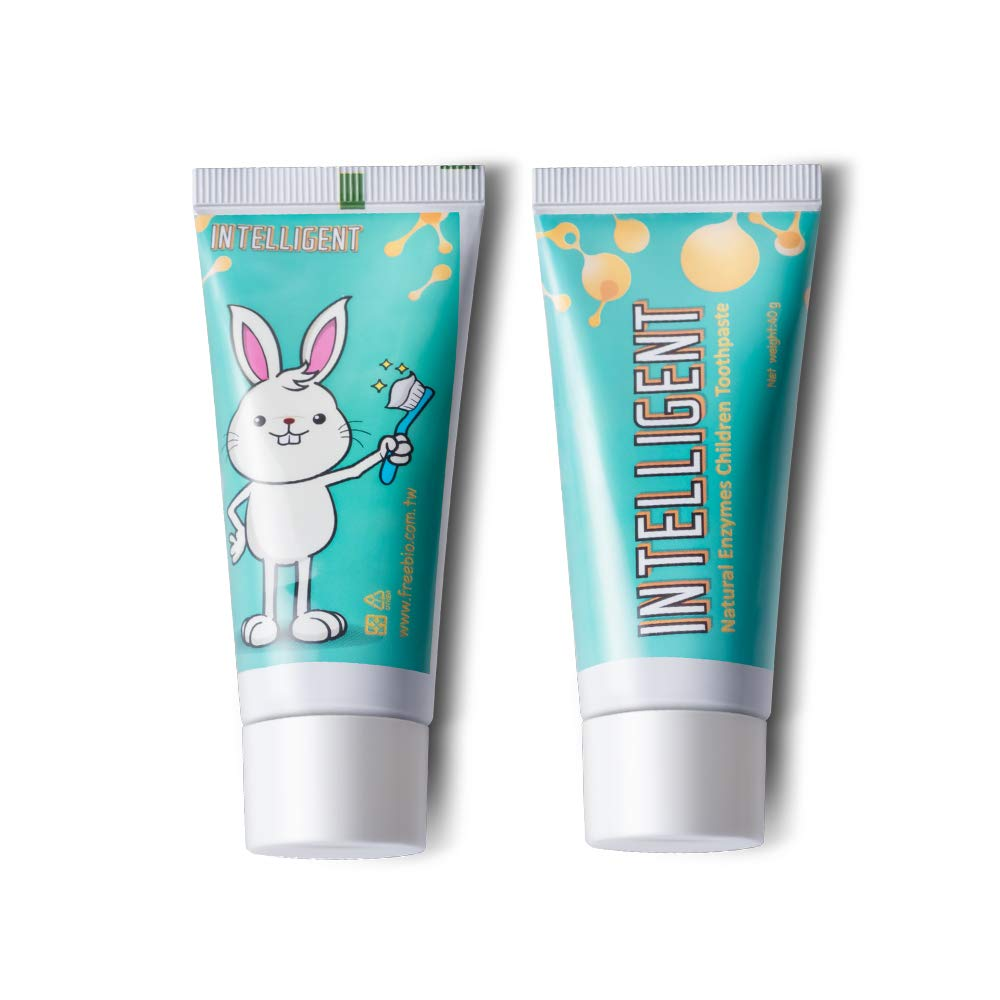 Intelligent Enzymatic Kids Toothpaste - White Healthy Teeth for Baby and Toddler, Natural Non-Foaming Infant Tooth Paste, Sulfate-Free, Fluoride-Free, 2 Piece x 1.37 Ounce