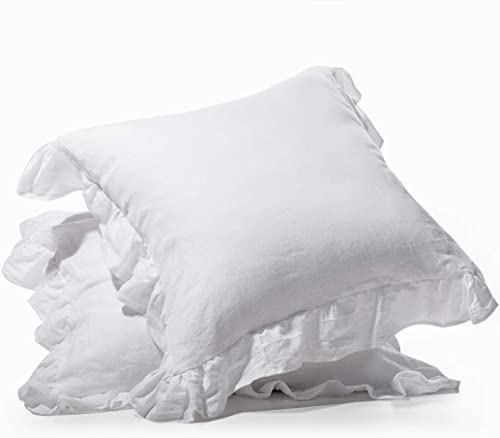 meadow park Stone Washed French Linen European Pillow Sham, Set of 2 Pieces, 26 inches x 26 inches Square Euro Sham, Super Soft, Ruffled Style, White Color
