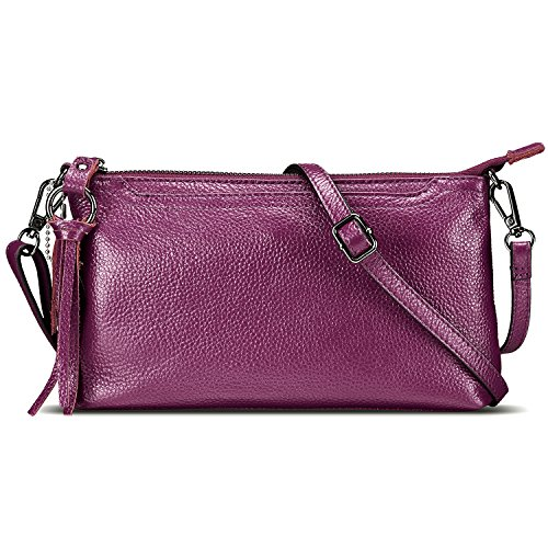 Bag Zipper Crossbody Leather 3 Wallet with Phone Small Magenta Lecxci Women Slots Card Purse for Womens Clutch xXRwtTEEIn