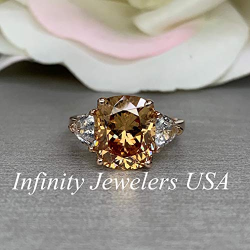 Elongated Cushion Cut Engagement Ring/Champagne Color Ring/Cushion Cut With Trillion Sides / 14k Rose Gold / #5561
