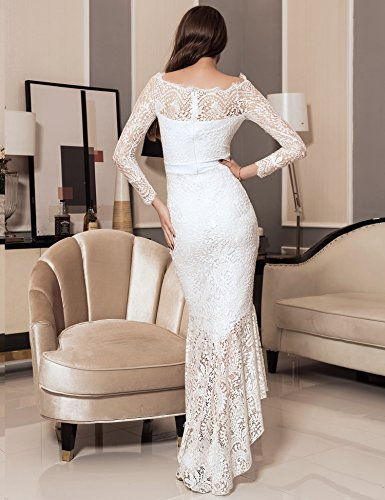 678e1e6bcc1 ohyeah Women Solid Formal Lace Maxi Dress Long Sleeve Off Shoulder ...