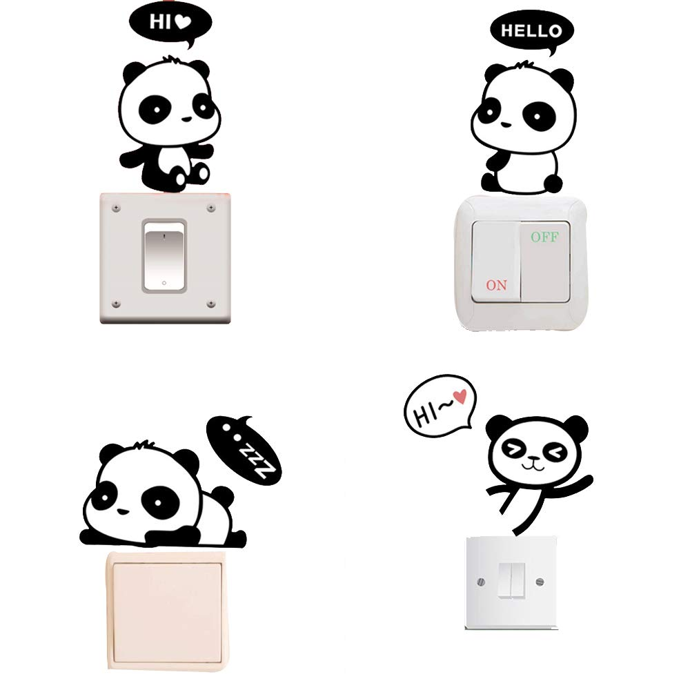 Removable Switch Sticker, 4 Pcs Cute Cartoon Pandas Wall Sticker, Light Switch Decor Decals, Family DIY Decor Art Car Stickers Home Decor Wall Art for Kids Living Room Office Decoration