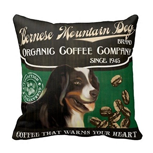 Bernese Mountain Dog Trade mark Organic Coffee Compan Cotton&Plyster Throw Pillow Case/cushion cover